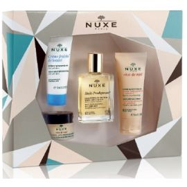Nuxe Best Seller Gift Set 1 Guile Prodigieuse 30 Ml + 1 Reve De Miel Baume Levres 15 Ml + 1 Reve De Miel Creme Mains Et Ongles 30 Ml + 1 Creme Fraiche De Beaute Pn 15 Ml